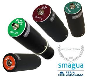 sensores para medición cloro, turbidez, temperatura, pH, conductividad,